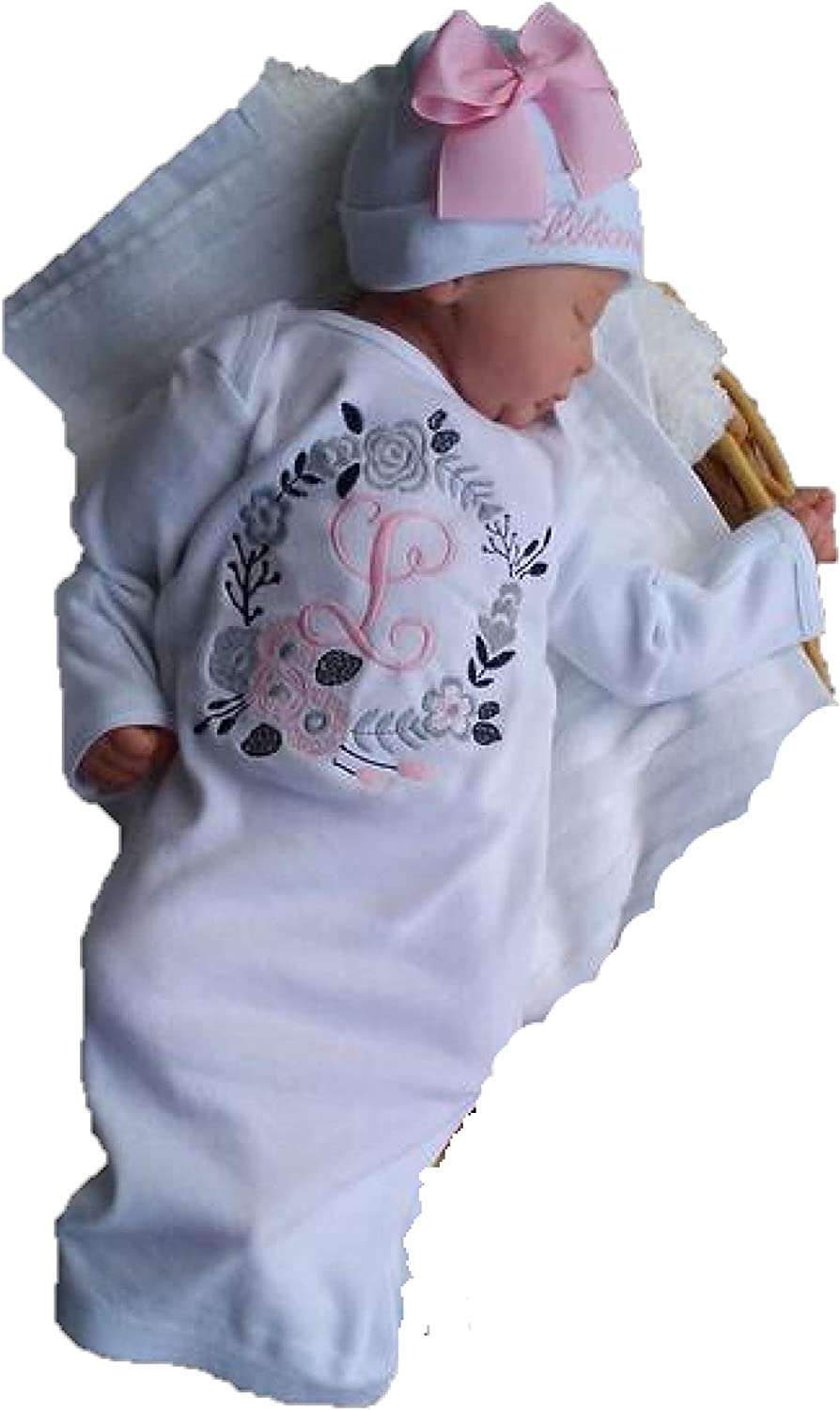 CUSTOM PERSONALIZED Newborn Girl Hospital Baby Sleeper Gown /& Hat  Monogrammed