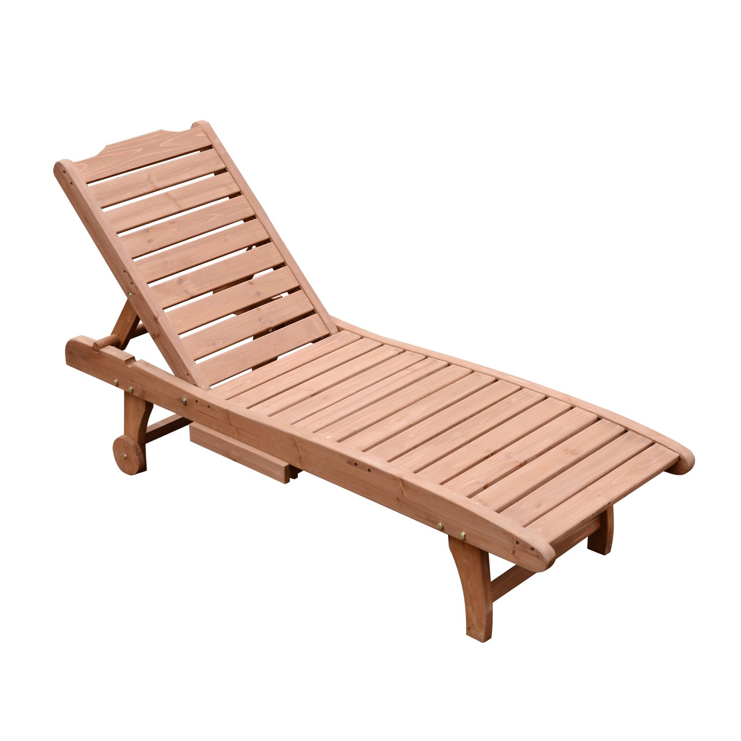 Outsunny Wooden Outdoor Chaise Lounge Patio Pool Chair w/Pull-Out Tray by Outsunny