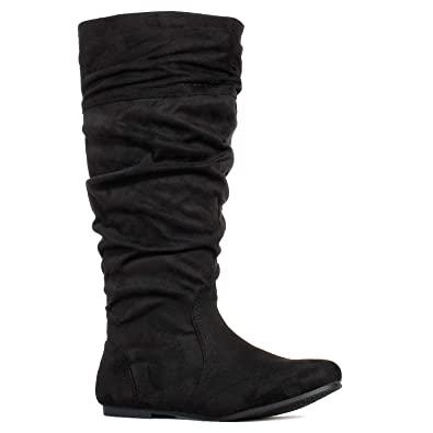 c730ed5ef6894 RF ROOM OF FASHION Women's Wide Calf Knee High Hidden Pocket Slouchy Boots  Black SU (