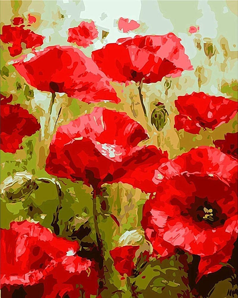 YEESAM ART Paint by Numbers for Adults Kids, Red Poppies Flowers 16x20 Inch Linen Canvas Acrylic DIY Number Painting Kits Wall Art Decor Gifts (Without Frame)