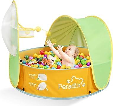 Peradix Tienda de Playa para Bebés Portátiles,2 en 1 Piscina de Bolas Bebe de Campaña para bebés con Cesta Pop-up Piscina Bebe Desmontable de ...