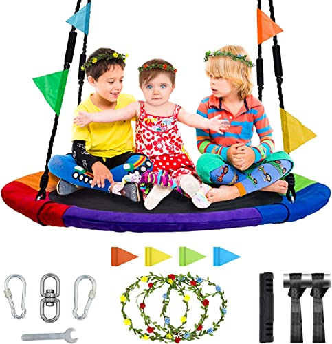 MESIXI Flying Saucer Round Tree Swing 40 inches , Outdoor Parent-Child Camping Toys, 900D Oxford Cloth Material Contains Abundant Accessories, Waterproof and Safe.
