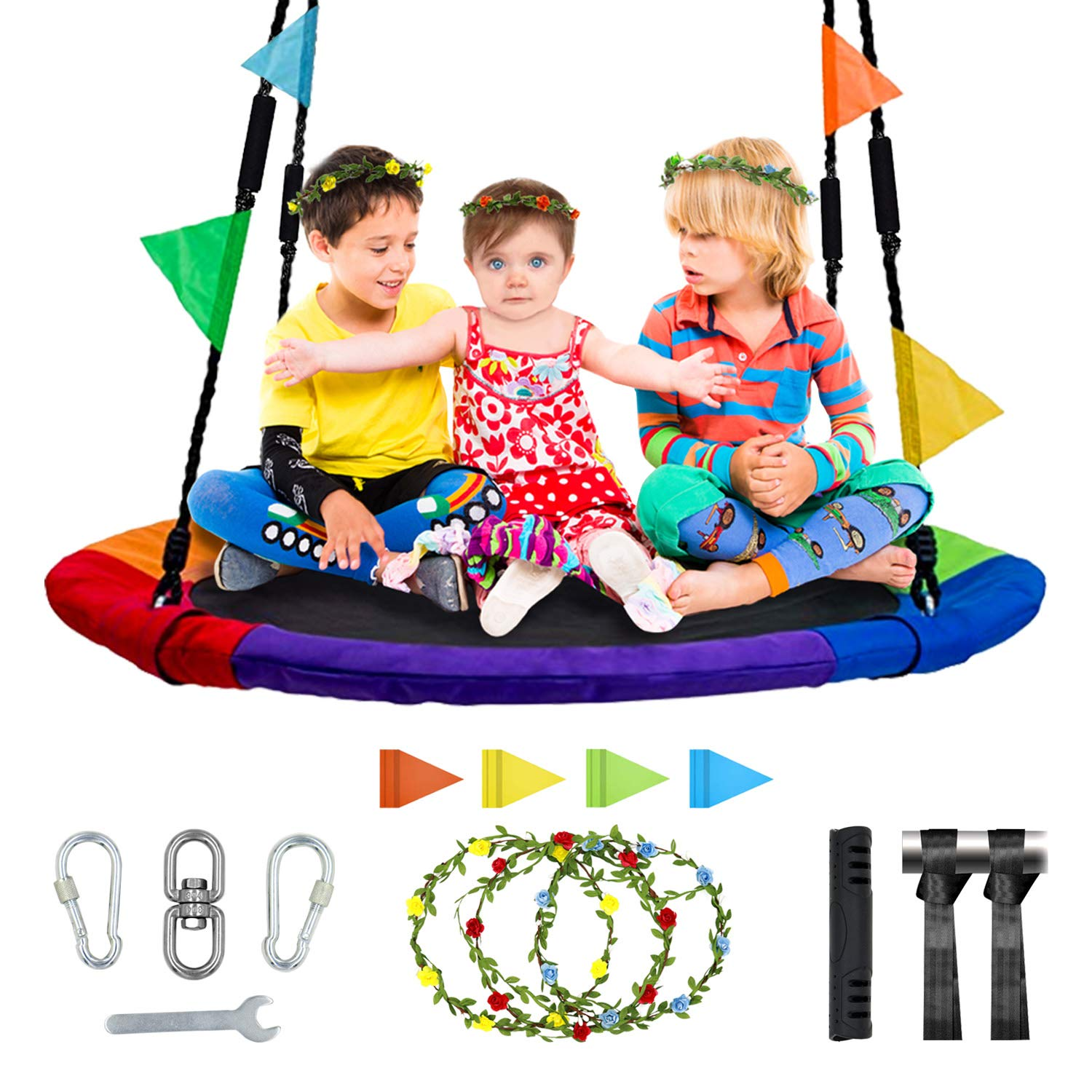 MESIXI Flying Saucer Round Tree Swing (40 inches), Outdoor Parent-Child Camping Toys, 900D Oxford Cloth Material Contains Abundant Accessories, Waterproof and Safe. by MESIXI