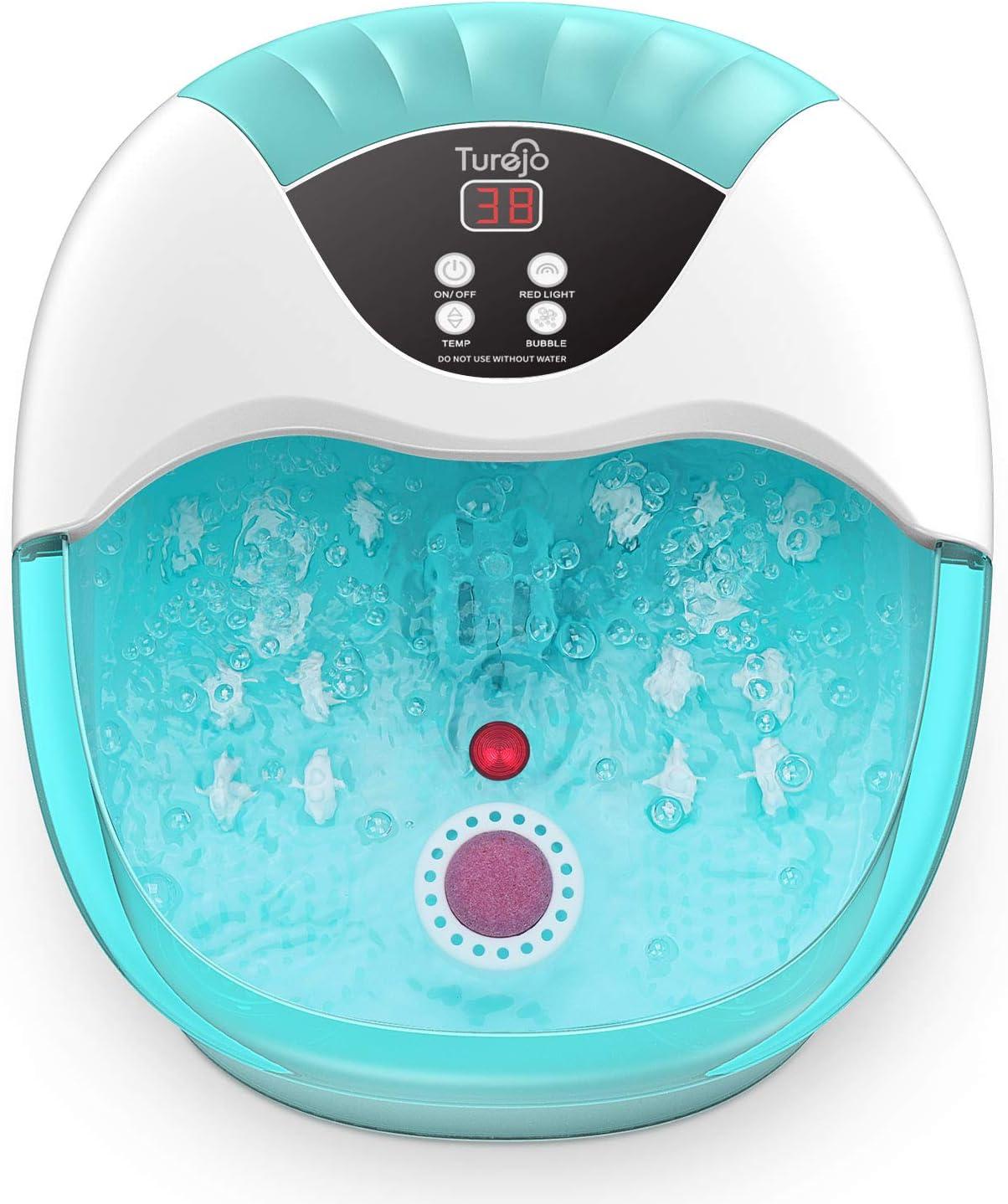 Bañera Para Pies, Turejo 3 en 1 Masajeador de Spa/Baño con Calefacción, Burbujas Oxígeno y luz Infrarroja, con 14 Rodillos de Masaje y Piedra Pómez para Alivio de Fatiga de Pies, Azul Cielo