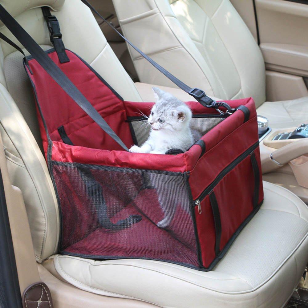 FONLAM Silla Asiento Coche de Seguridad Mascota Perrito Gato Capazo Coj/ín Coche Cesta Transport/ín Viaje con Perro Cachorro con Cintur/ón de Seguridad Plegable Rojo