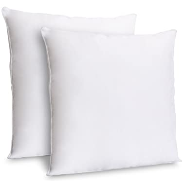 ZOYER Decorative Throw Pillow Inserts (2 Pack, White) - Square Indoor Sofa Pillows - Premium Poly Cotton Cover (18x18 Inch)