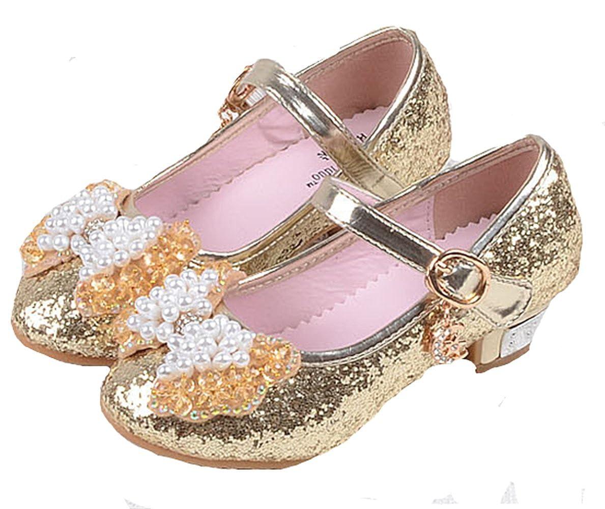 YOGLY Sandales Ceremonie Fille, Chaussure à Talon Enfant Ballerine Princesse avec Perles et Paillettes pour Mariage Déguisement