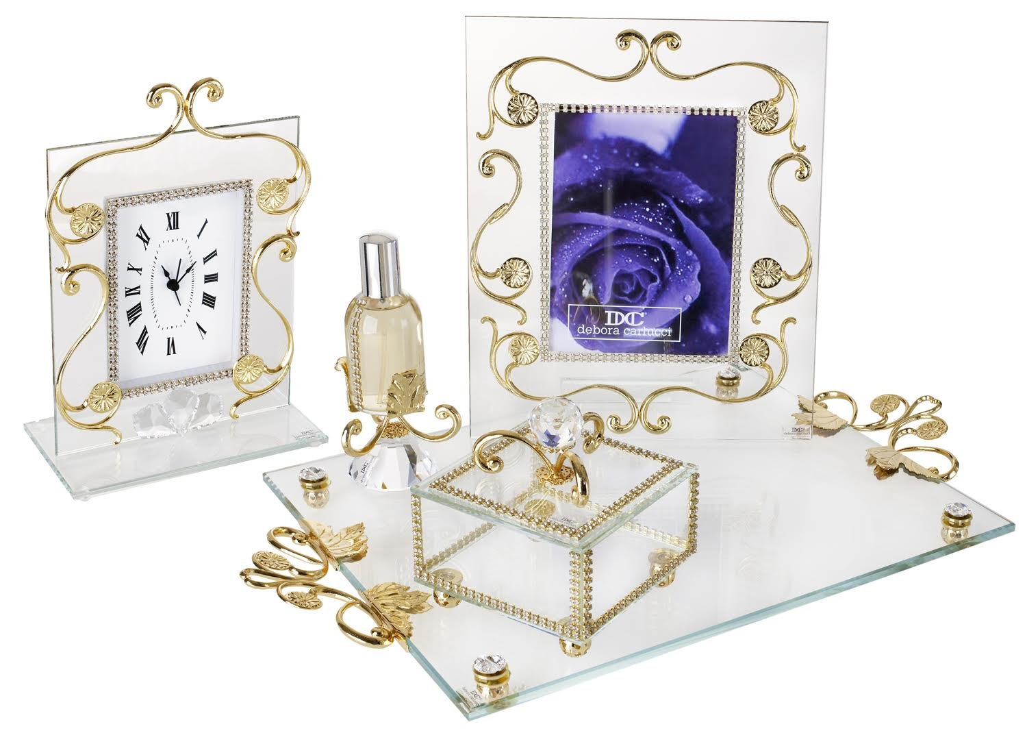 Italian 18kt Gold Plated Vanity Tray With Picture Frame Clock Tray 5 Piece Set by 5th Ave Store (Image #1)