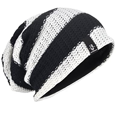 c65f873c967 Mens Slouch Beanie Winter Ski Baggy Hat B09 (Black White)(Size  L ...