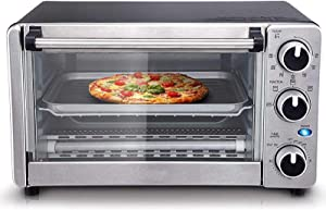 VCF 4-Slice Convection Toaster Oven, Multi-function Convection Oven, Stainless Steel (1100W)
