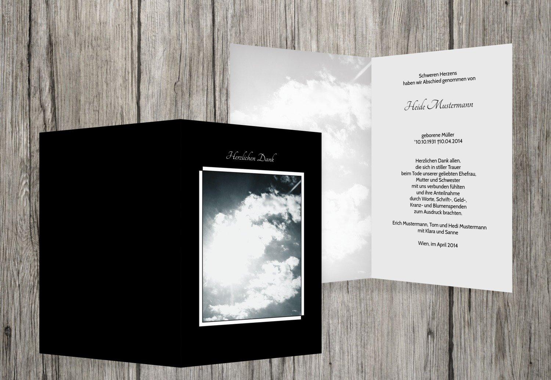 Tarjetas de agradecimiento luto Nubes, negro, 80 Karten