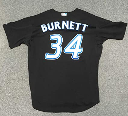 12de27491 Image Unavailable. Image not available for. Color  AJ Burnett Toronto Blue  Jays Game Used Majestic Baseball Jersey  MLB Holo