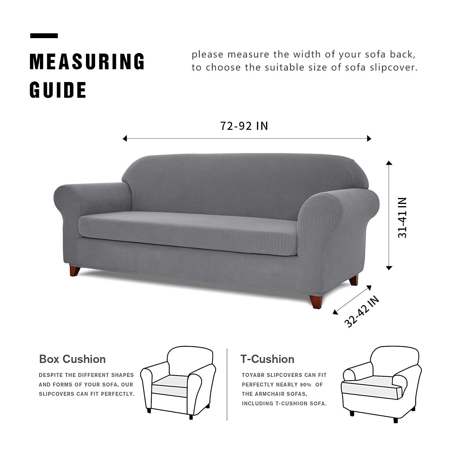Amazon.com: TOYABR 2 Piece Jacquard Stretchy Fabric Sofa Cover Living Room  Polyester Sofa Slipcovers Fitted Couch Protector For Furniture (Light Gray,  ...