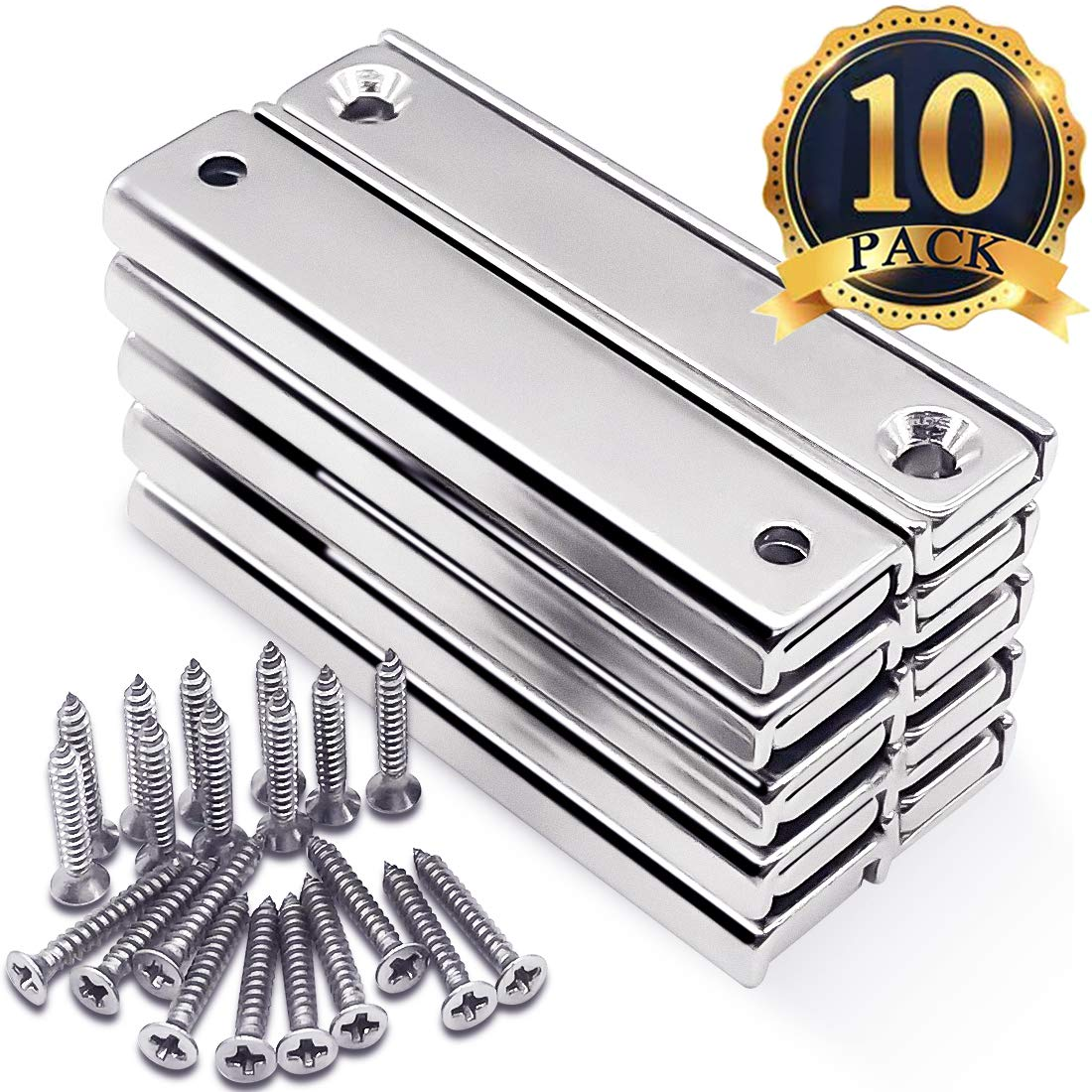 FINDMAG Strong Neodymium Rectangular Pot Magnets with Counter Bore, Countersunk Hole Bar Magnets with Mounting Screws - 60x13.5x5mm, Pack of 10