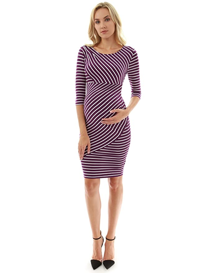 PattyBoutik Mama Striped Elbow Sleeve Maternity Dress in Purple and White