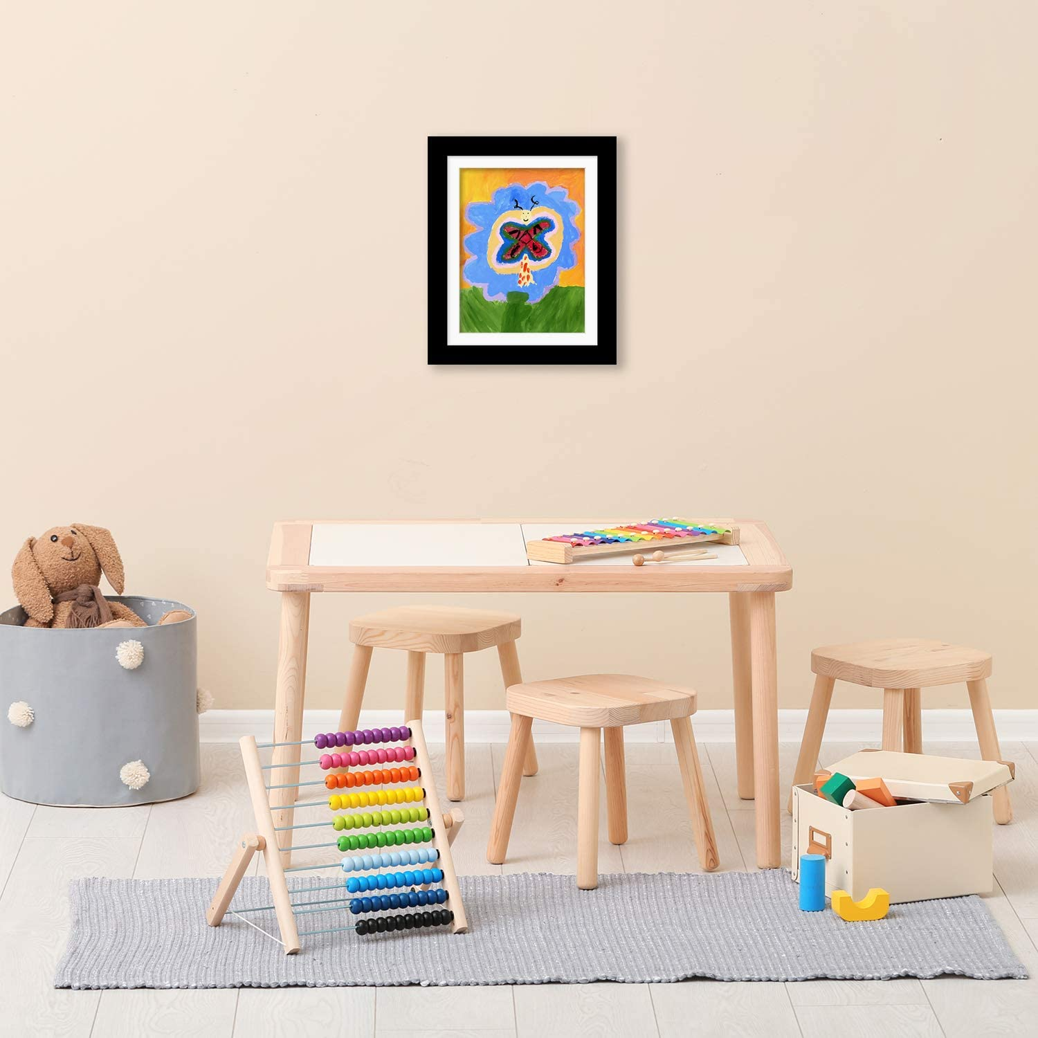 Americanflat Black Kids Artwork Picture Frame with Shatter-Resistant Glass Display Artworks Sized 8.5x11 with Mat and 10x12.5 Without Mat