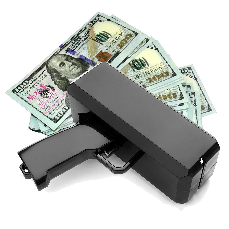 Wowok Black Money Gun with 10,000$ Fake Money, Super Money Guns Paper Playing Spary Money Gun Make it Rain Toy Gun Cash Gun for Game Party Supplies(Battery Included) by Wowok (Image #6)