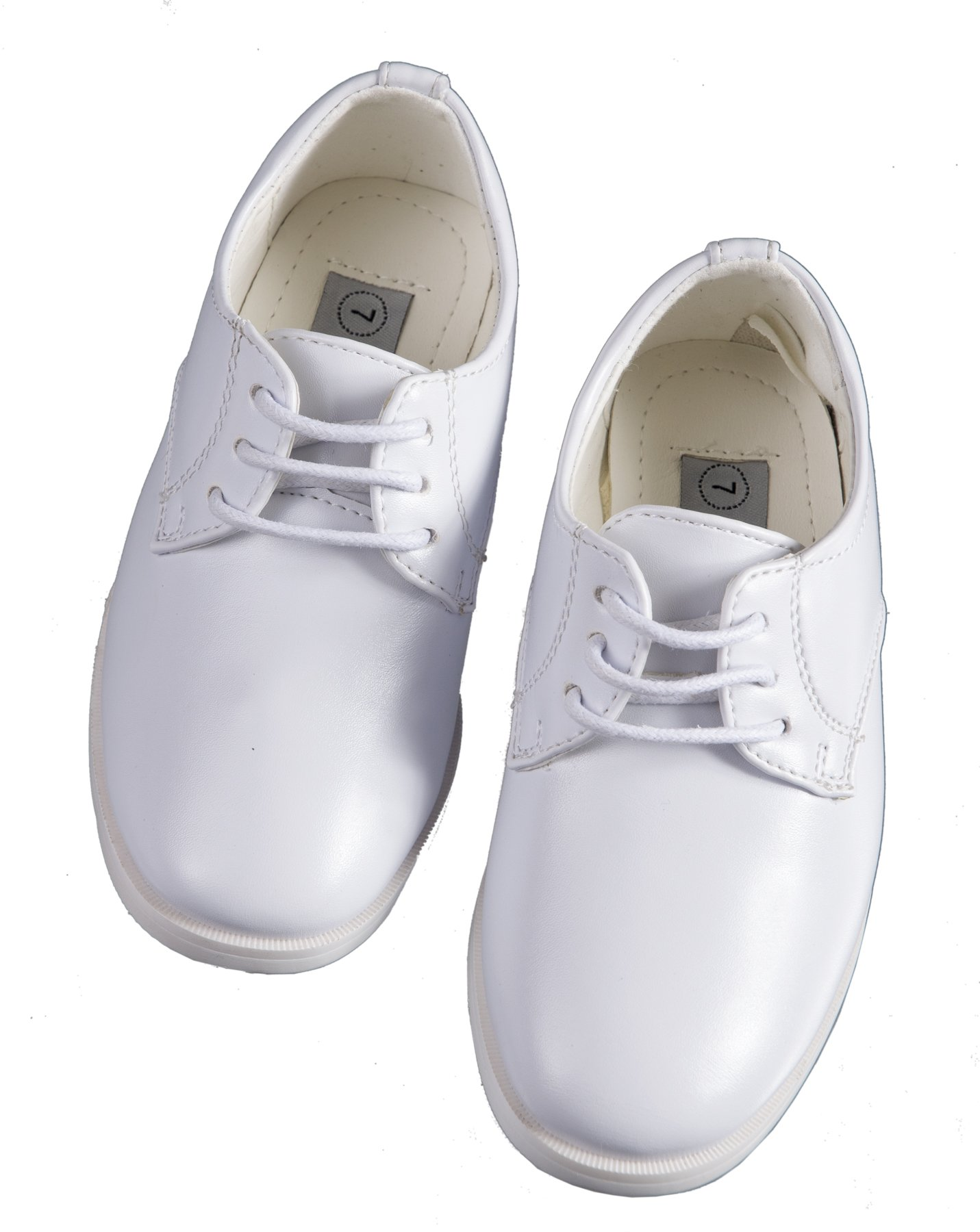 Boys White Lace Up Round Toe Dress Shoes - Wedding - First Communion (12 M US Little Kid)