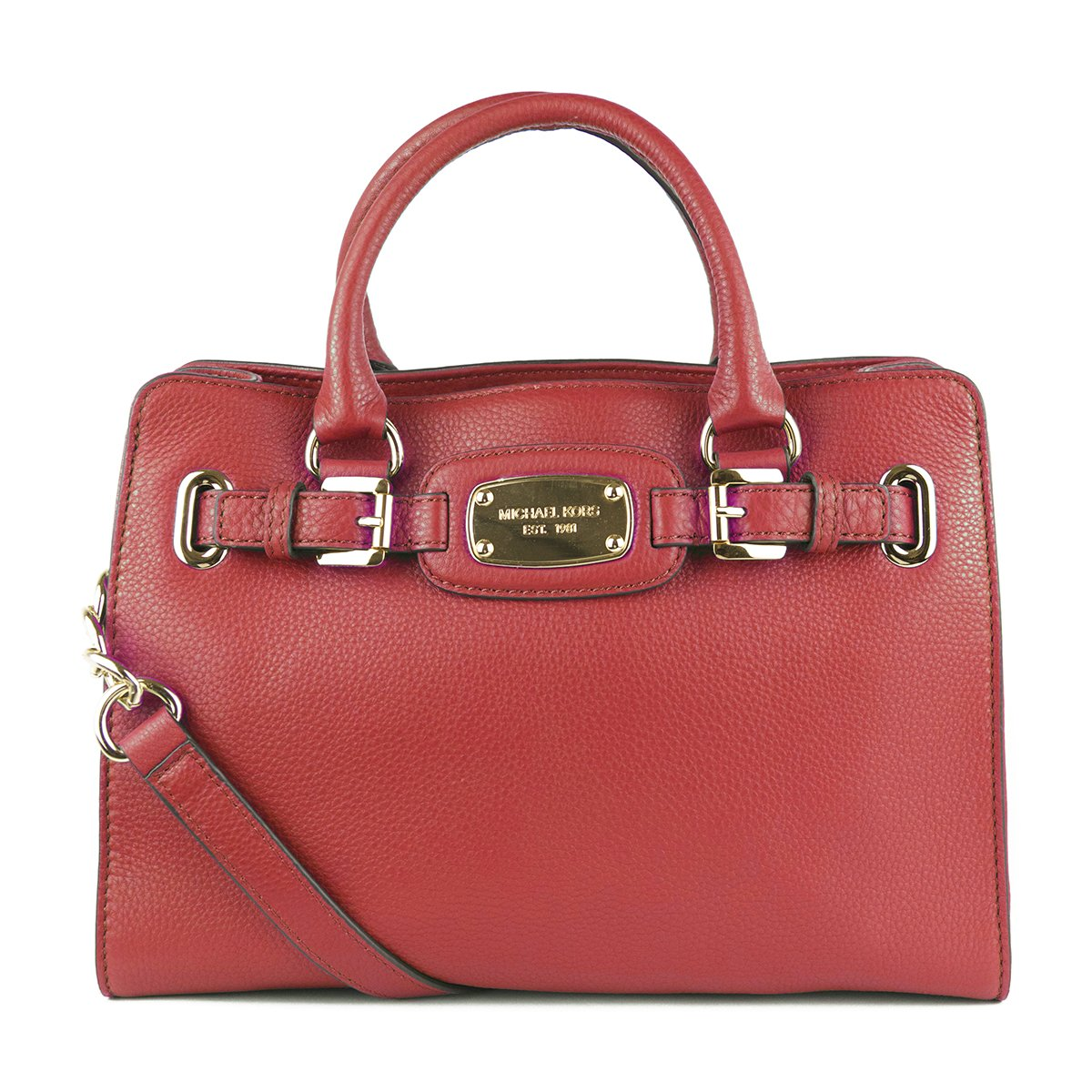 Michael Kors Genuine Hamilton Red Leather Med Tote Bag