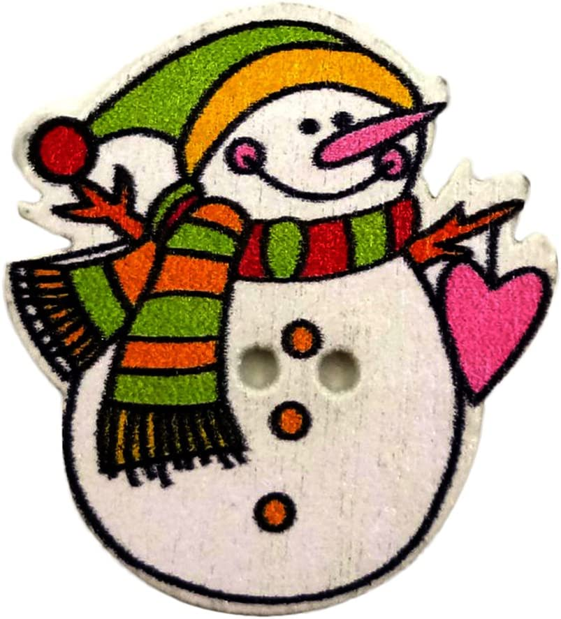 CW/_ ALS/_ 50Pcs Lovely Christmas Snowman Wooden Buttons DIY Sewing Scrapbooking C