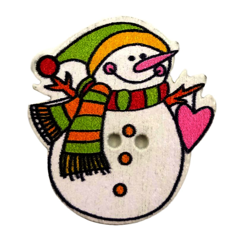 JianFeng 50Pcs Cute Christmas Snowman Wooden Buttons DIY Sewing Scrapbooking Craft Tool
