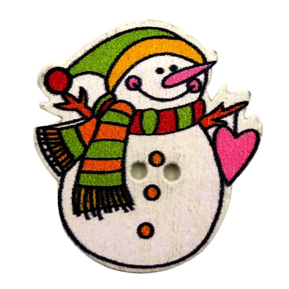 dragonaur 50Pcs Cute Christmas Snowman Wooden Buttons DIY Sewing Scrapbooking Craft