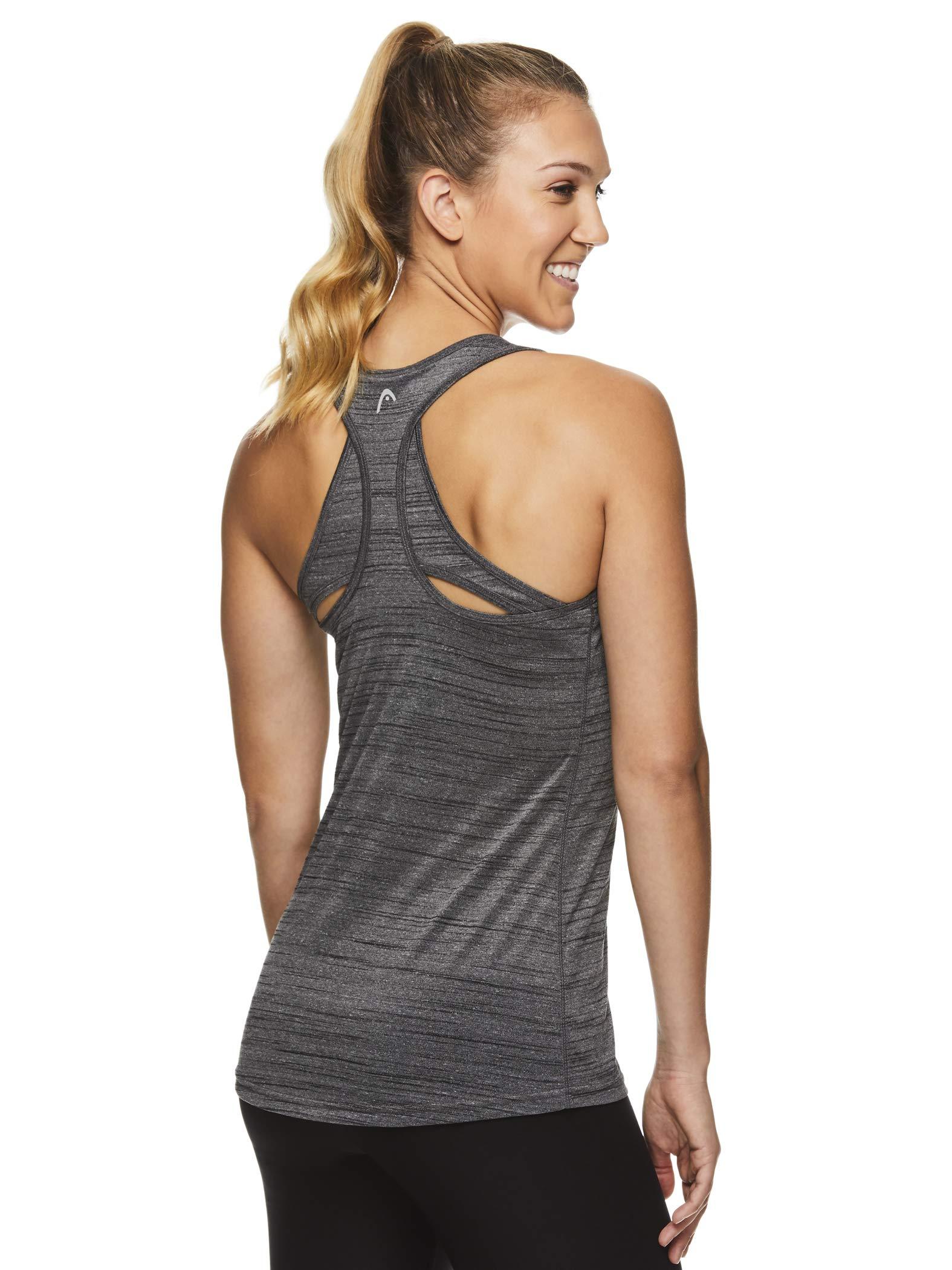 HEAD Women's Racerback Tank Top - Sleeveless Flowy Performance Activewear Shirt - Perserverance Black Heather, X-Small