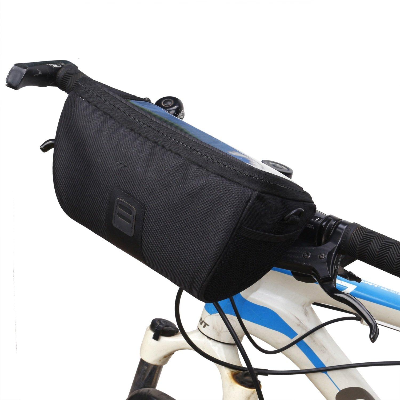 Sdcvopl ハンドルバーバッグ 自転車 パニエ バイク MTB ハンドルバーバッグ 防水 マウンテンバイクポーチ 多機能バイクバッグ 取り外し可能なストラップと防雨カバー 大人と子供用 自転車ラック&バッグ   B07P1RZTL4