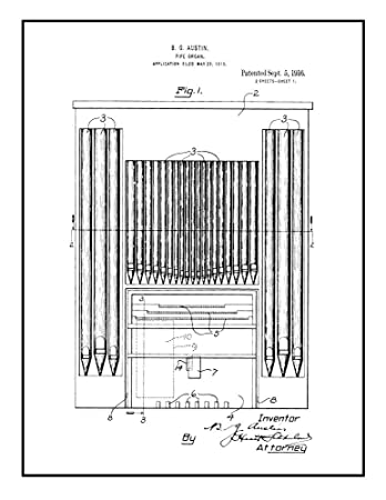 Amazon com: Pipe Organ Patent Print Black Ink on White with