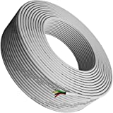 Phone Cable 300ft Rounded White Roll (100m Long) 4x1/0.4 26 AWG Gauge Solid Wire -Round Telephone Cord Line Extension Bulk Ro