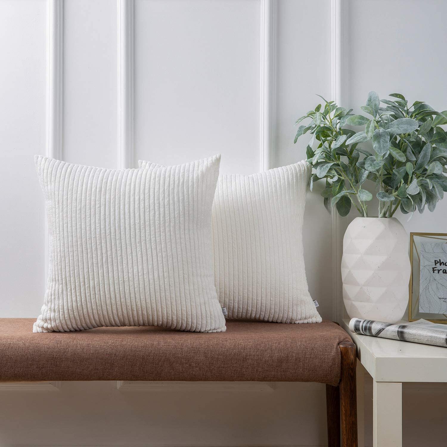 Ashler Pack of 2 Corduroy Soft Velvet Striped Solid Square Throw Pillow Covers Cushion Cases 20 x 20 inch True White