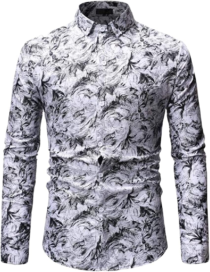Wofupowga Mens Turn Down Long Sleeve Formal Print Tops Button Front Shirts