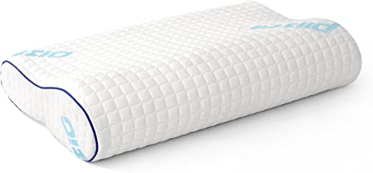 2 Pack Plixio Memory Foam Contour Pillow with Hypoallergenic Bamboo Cover
