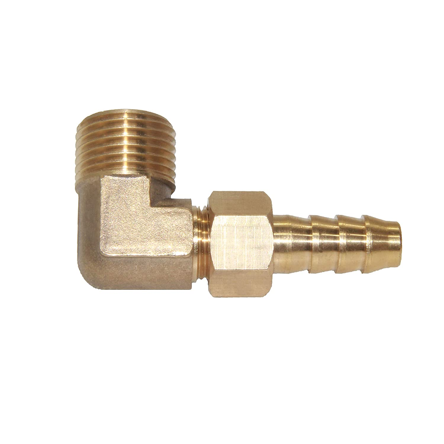 Water//Fuel//Air 90 Degree Elbow Joyway 3//8 Barb Swivel x 1//2 Male Pipe Brass Hose Fitting