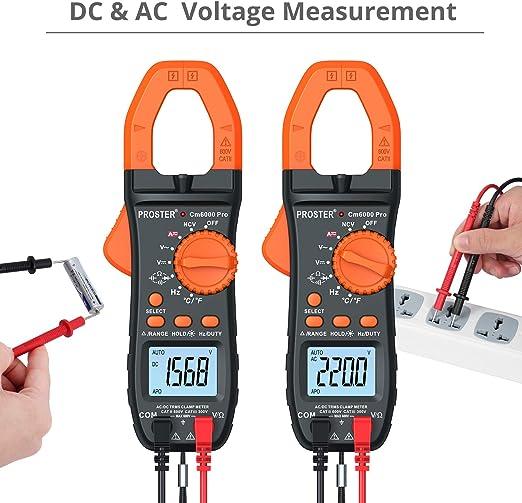 prueba de diodos detecci/ón de voltaje sin contacto voltaje y corriente CA//CC mult/ímetro de alcance autom/ático NUZAMAS Medidor de abrazadera digital protecci/ón contra sobrecarga resistencia