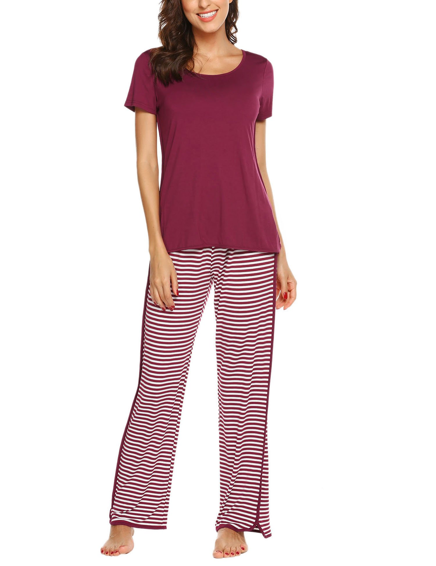 Ekouaer Pajama Set Striped Top & Pants Loose Fit Loungewear Round Neck Pjs for Women