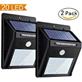 Solar Sensor Wall Lights, Super Bright Motion Garden Night Lights, 20 LED Waterproof Outdoor Security Powerful Detector Lights for Yard, Wall, Patio, Deck, Steps (2 Packs)