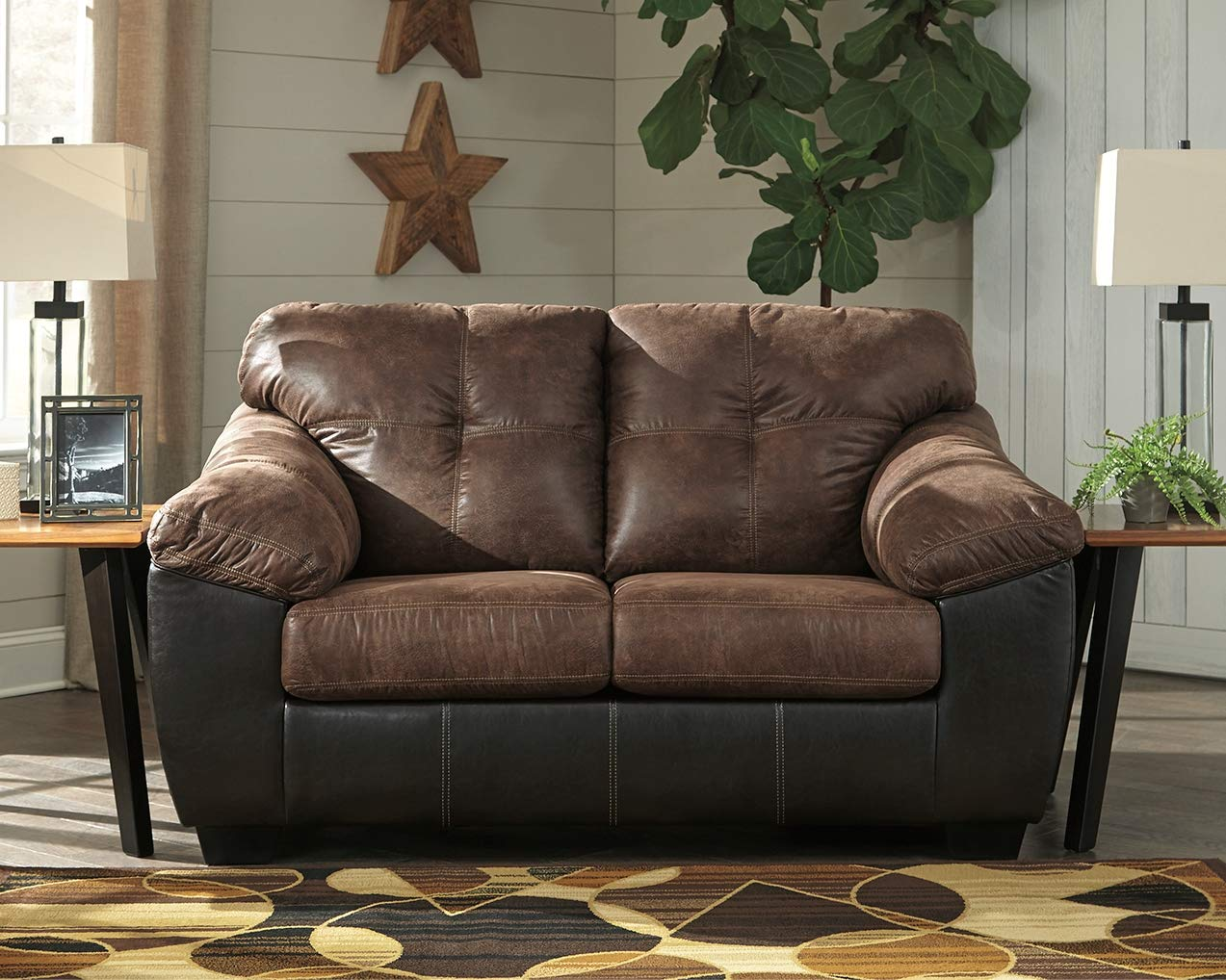Ashley Furniture Signature Design – Gregale Contemporary Upholstered Loveseat – Coffee Brown