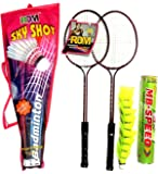 RDM Steel Junior Badminton for Kids with 2 Racket and 1 Box Nylon Shuttle Cock with Full Length Cover (Multicolour, RDM-150-combo) - Pack of 10