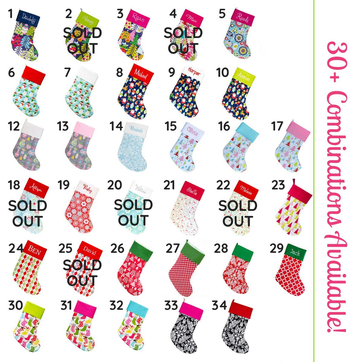 Personalized Family Christmas Stockings 18 Large Choose Your Own Custom Fabric