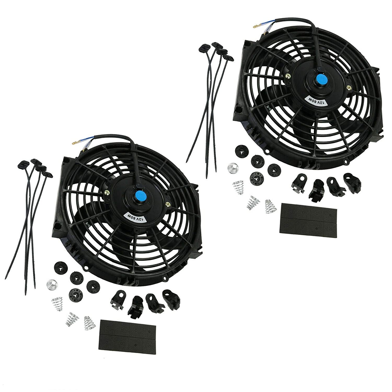 2X 10 inch 12V Electric Radiator Cooling Mount Kit Universal Slim Fan Push Pull