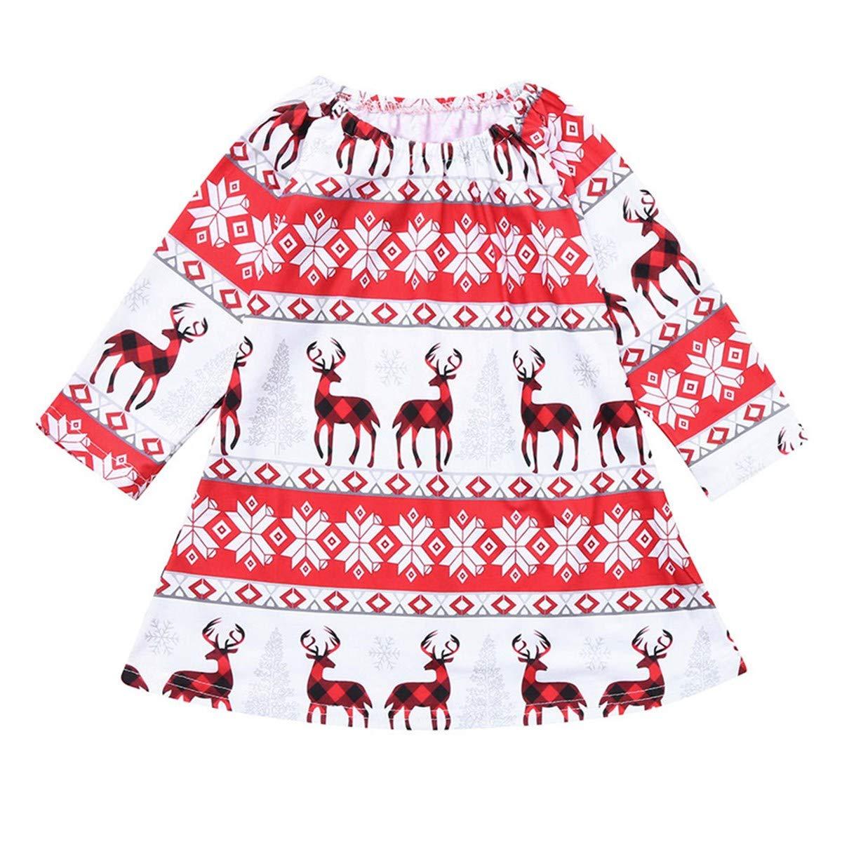 KONFA Toddler Baby Girl Christmas Deer Snowflake Tutu Dress,for 0-4 Years,Little Princess Long Sleeve Skirt Xmas Clothes