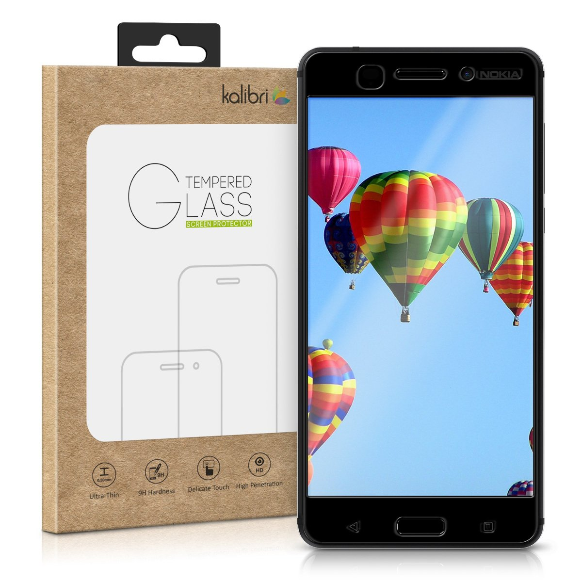 70%OFF kalibri Tempered glass screen protector for Nokia 6 (2017) 3D protective glass Full Cover Screen Protector with frame in Black