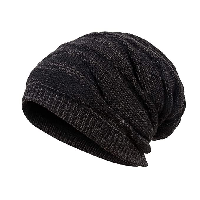 d793e3ba71c Mens Winter Plus Velvet Warm Knitting Hats Wool Baggy Slouchy Beanie Hat  Skull Cap Ski Cap