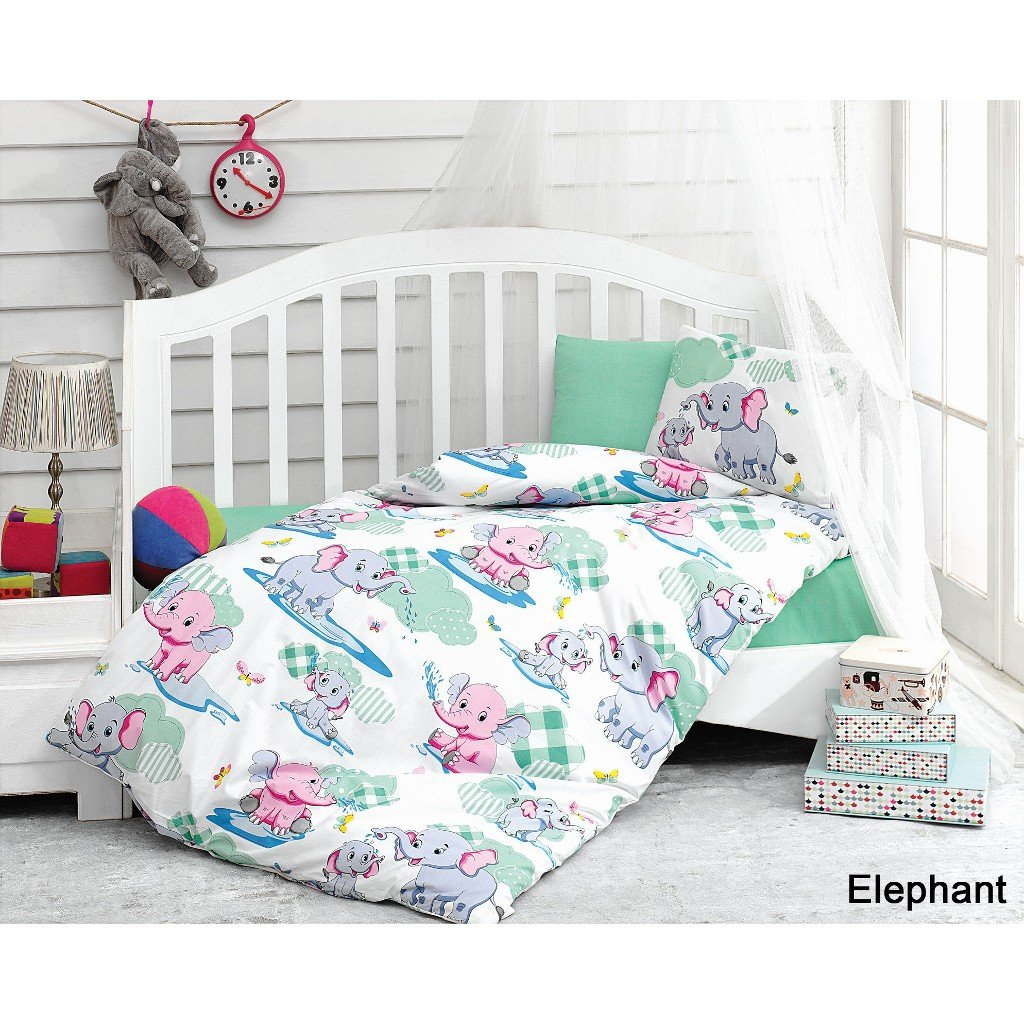 Serra Baby Bedtime Originals 4 Pieces 100% Cotton Crip Nursery Bedding Set (12 Color) - Elephant