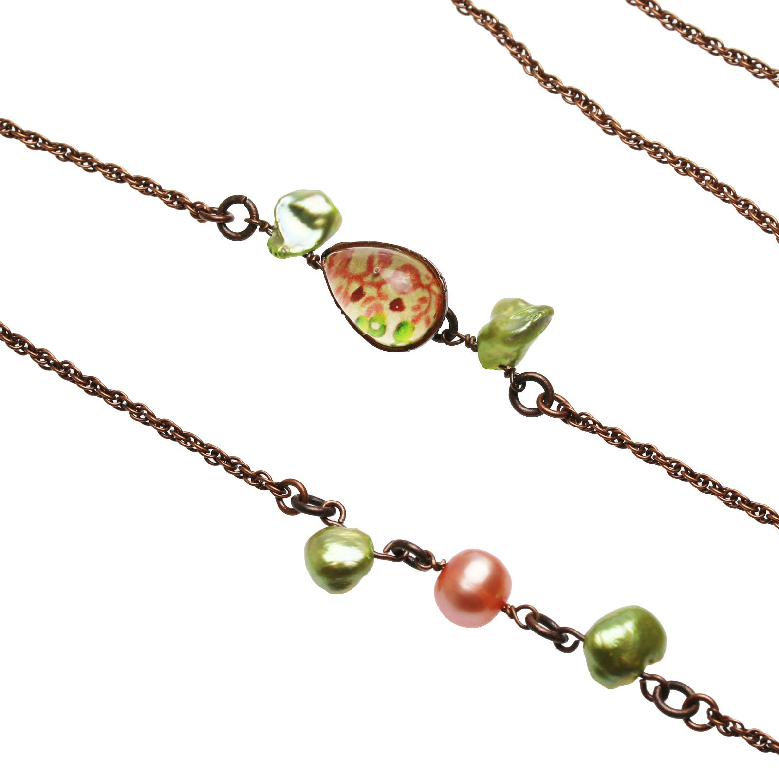 Tamarusan Rosic Beige Glasses Chain Freshwater Pearl Gift Antique Finished