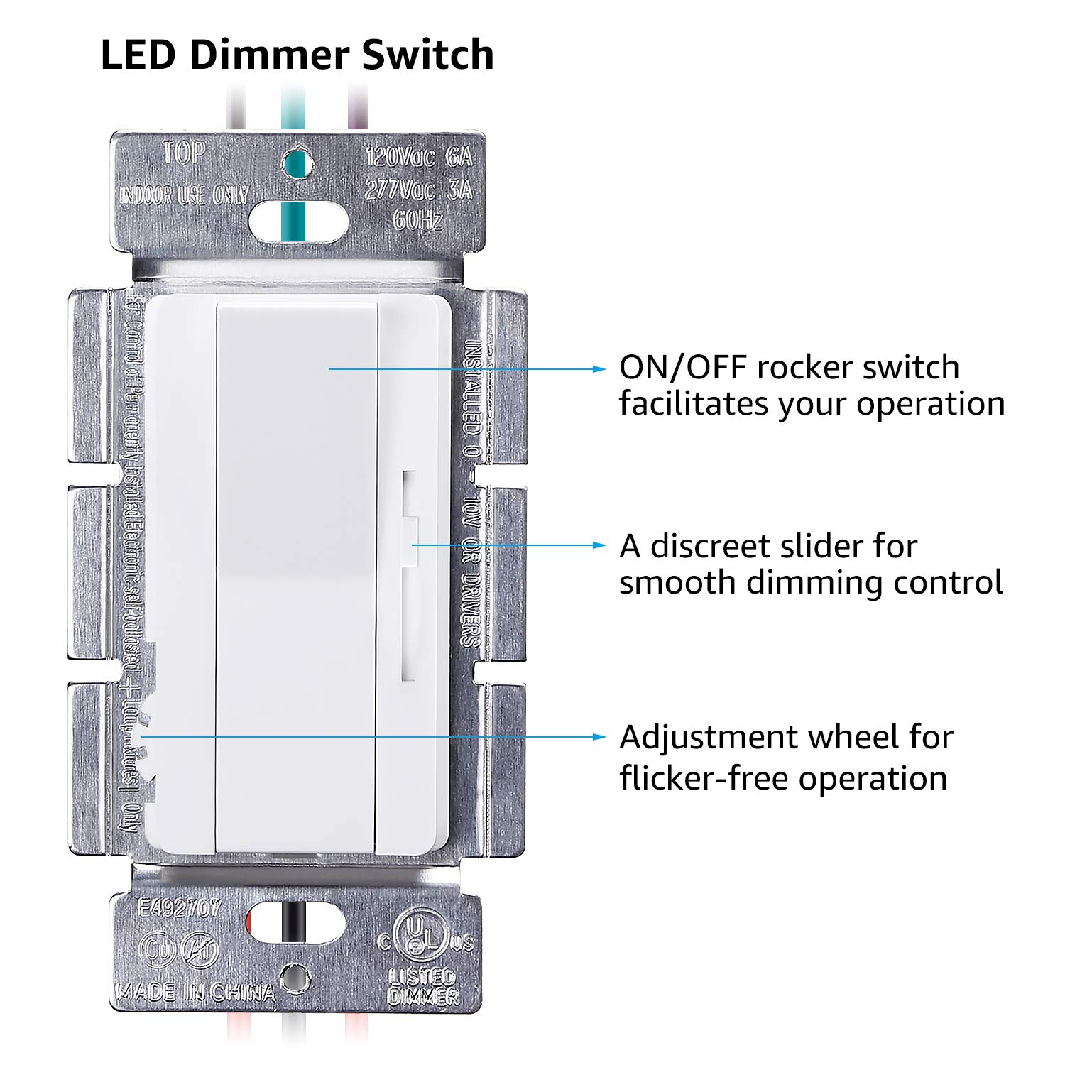 Torchstar 3 Way Single Pole Dimmer Switch With Slider Ul Listed 0 Led Rocker Wiring Diagram 10 10v Wall On Off For Controlling Lights
