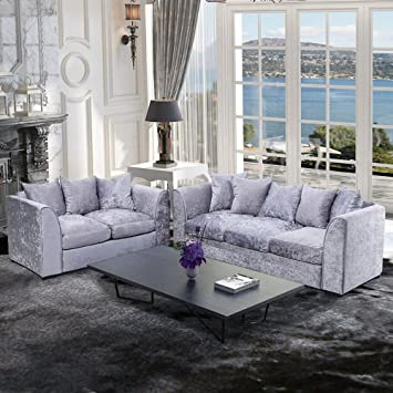 Tuff Concepts Modern Design Silver Corner Group Sofa Set Right And Beauteous Modern Living Room Furniture Uk Concept