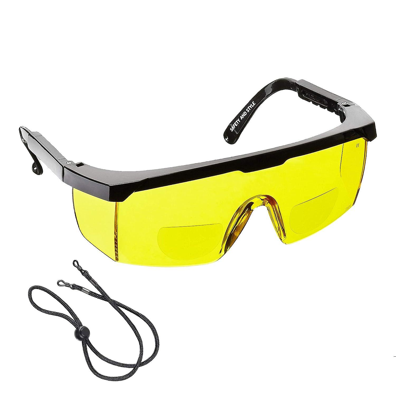voltX 'Classic' farblose Bifokalschutzbrille (+1, 5 Dioptrie) mit Sicherheitskordel CE EN166F zertifiziert StraightLines