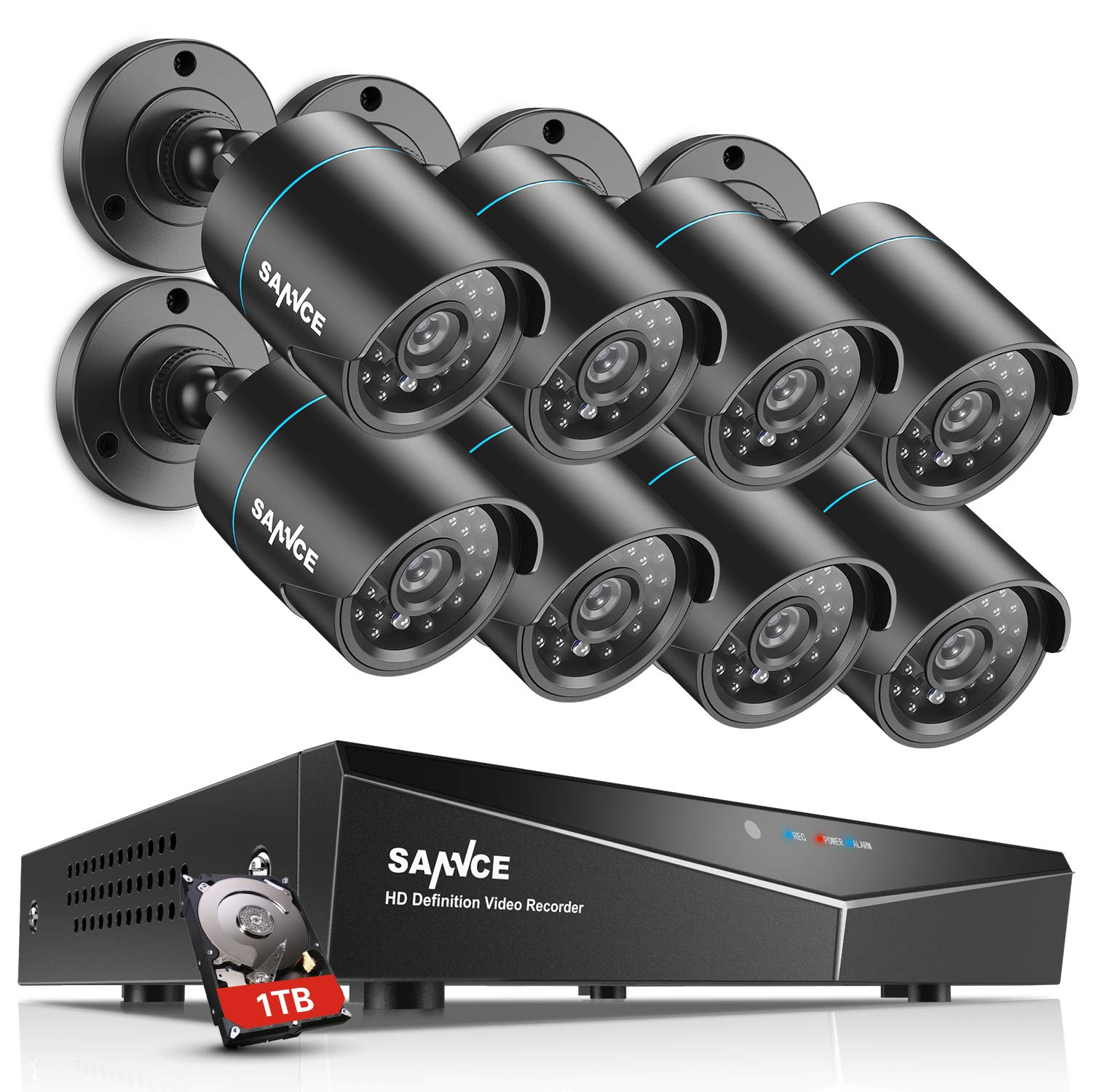 SANNCE 8 Channel HDMI CCTV 1080N Security Surveillance DVR System with 8 x 1500TVL 720p High Resolution Weatherproof Security Cameras and 1TB Hard Drive Included,Email Alarm, Phone Access